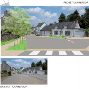 Carrefour routes de Kergoat / de Quimper. Commune de Quéménéven - Atelier Lieu-dit & B3I - novembre 2018