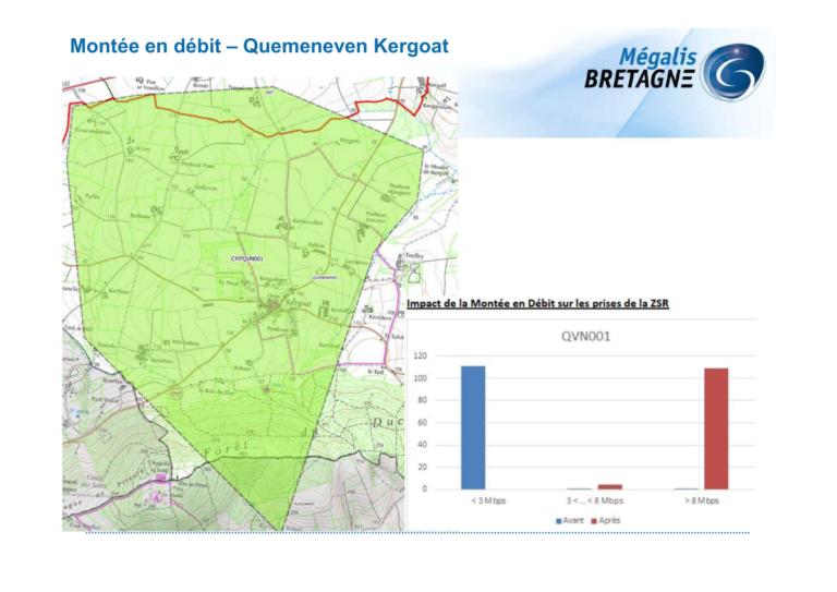 Carte de la montée en débit internet secteur Quéménéven - Kergoat. Source : Mégalis Bretagne 2021